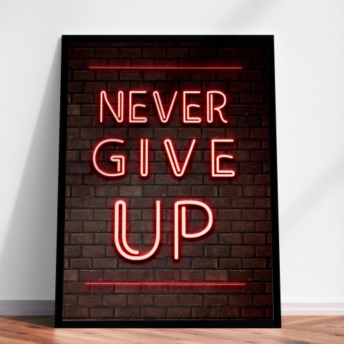 Never Give Up Lights poster print or canvas