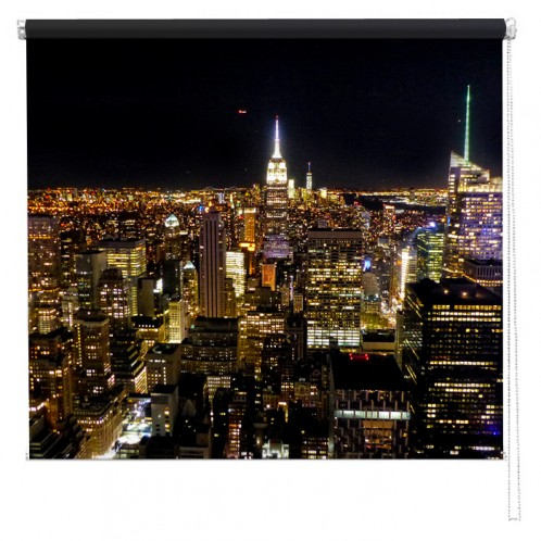 New York skyline view from the Rockafella printed blind