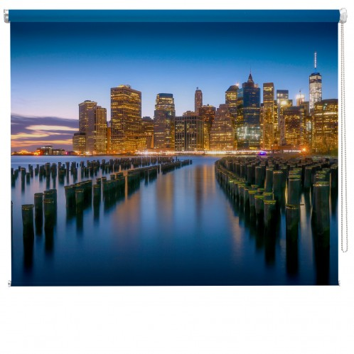 New York water view printed blind