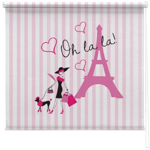 Paris pink stripe printed blind