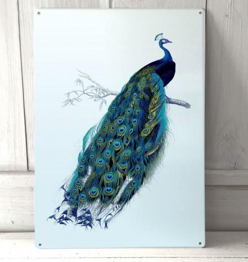 Vintage Peacock Metal Sign