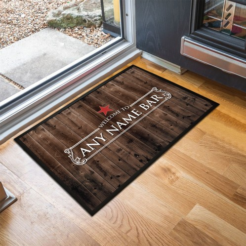 Personalised wood effect Bar Door Mat