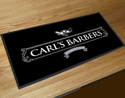 Personalised Barbers shop moustache bar runner counter mat