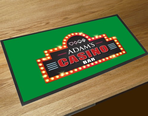 Personalised Home Casino green bar runner mat