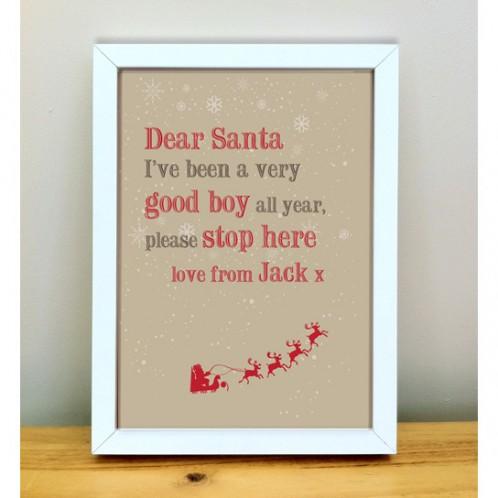 dear santa personalised christmas print
