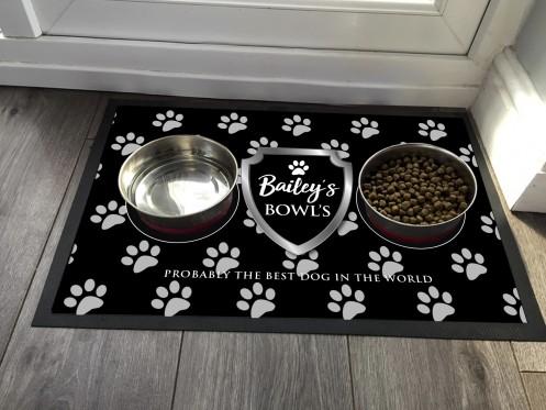 Personalised Dog feeding mat, chrome shield