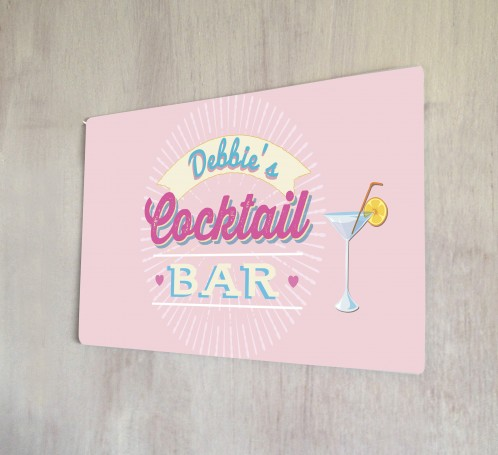 Personalised Pink Cocktail Bar Name Sign