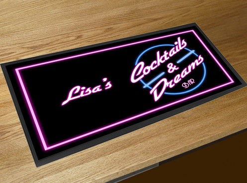 Personalised Cocktails and Dreams bar runner