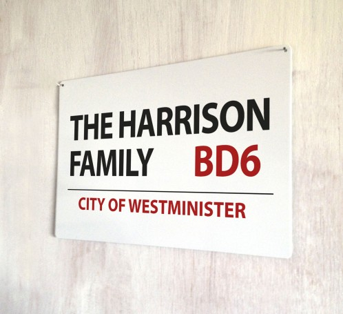 Personalised Family Street Sign