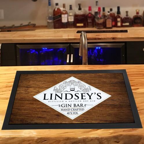 Personalised Gin Bar (eat sleep) Wood runner bar mat