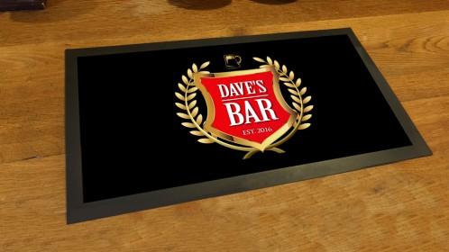 Personalised Gold Crest label bar runner mat