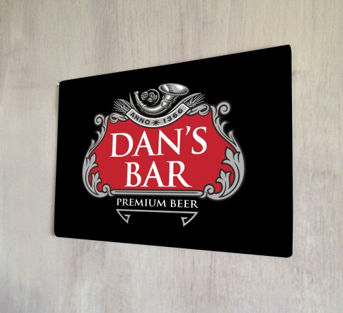 Personalised Red and Grey Beer Label Sign
