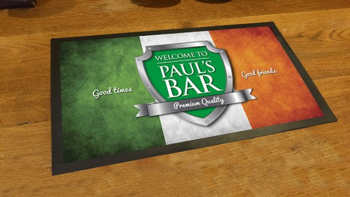 Personalised Irish flag chrome shield bar runner mat