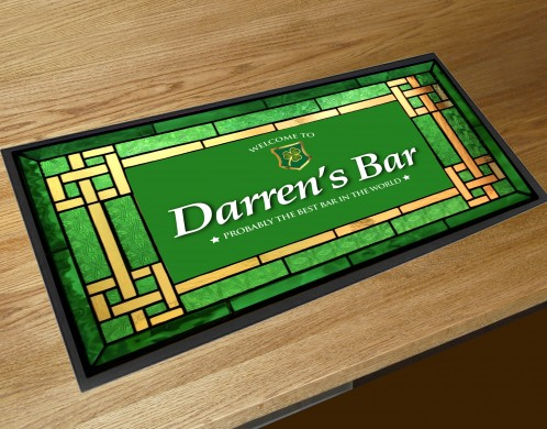 Personalised Irish stained glass effect bar runner mat