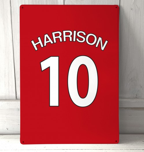 Personalised Red football shirt Sign