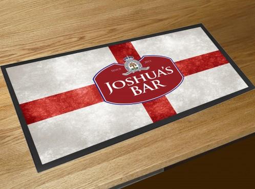 Personalised St Georges flag beer label bar runner mat
