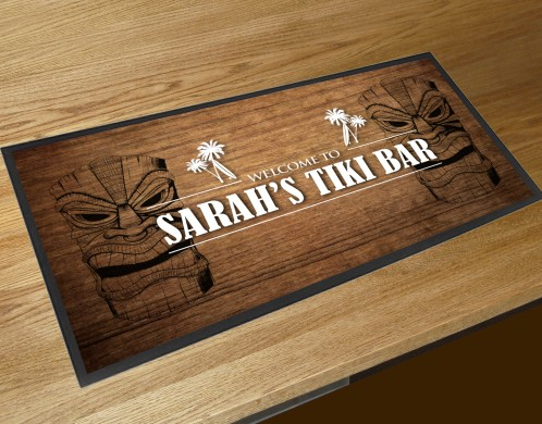 Personalised wood Tiki bar runner mat