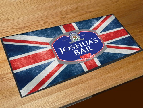 Personalised Union Jack beer label bar runner