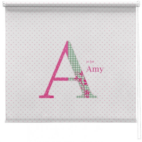 Pink personalised polka dot printed blind