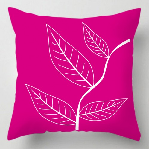 Pink leaves cushion