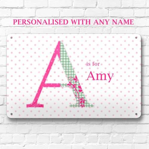 Personalised name Letter metal door wall sign