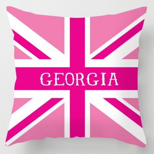 Personalised Pink union jack cushion