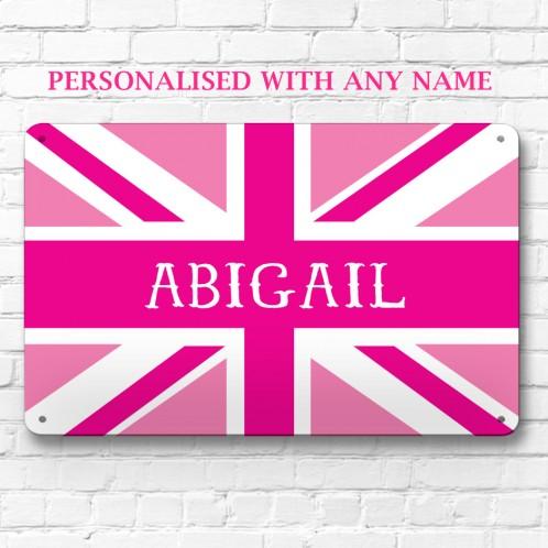 Personalised pink union jack metal door wall sign