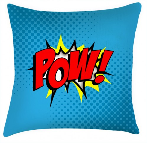 POW comic funky style green cushion