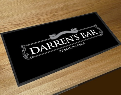 Personalised grey beer label bar runner mat