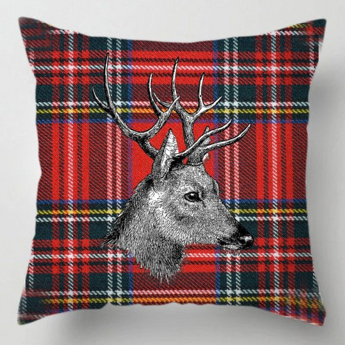 Stag red Tartan cushion
