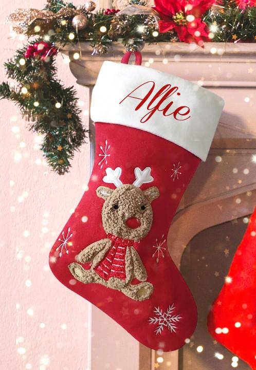 Personalised Christmas Deluxe Stocking, cute reindeer