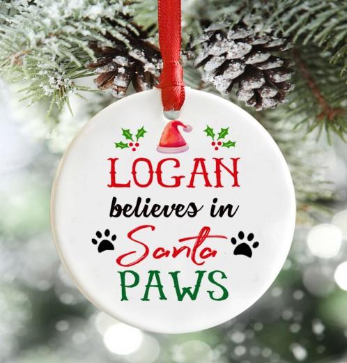 Personalised Santa Paws, pet Christmas decoration