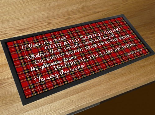 Scotch drink Burns poem bar runner mat