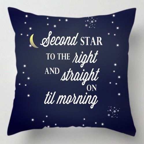 Second star til morning peter pan quote cushion