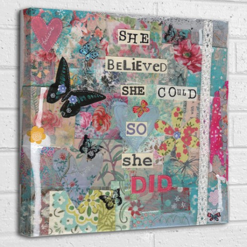 She believed she could so she did quote canvas art