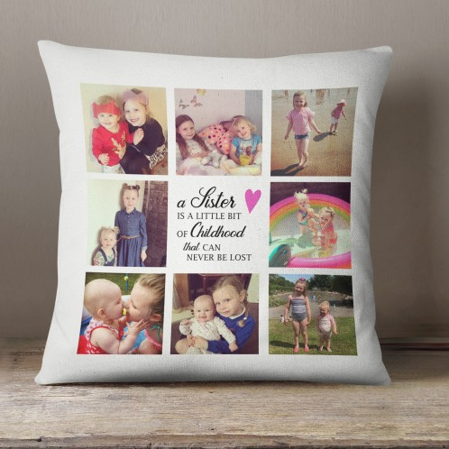 Personalised Sisters gift, Photo collage cushion