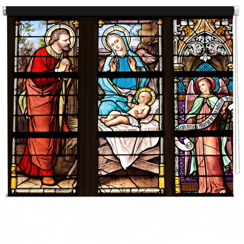 Stained Glass Church Nativity printed blind