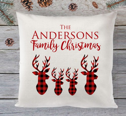 Personalised Family Christmas (reindeer) cushion