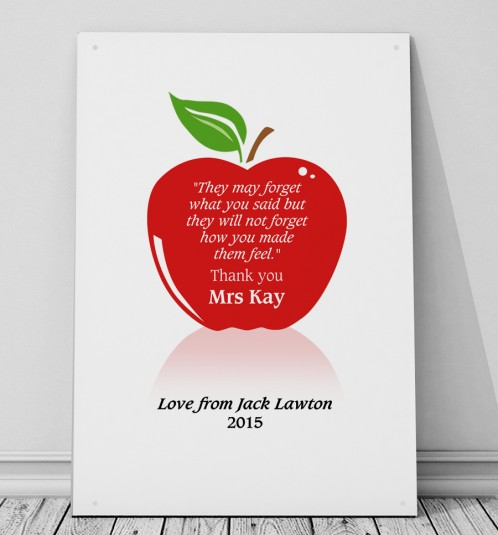 Personalised Teachers apple metal sign