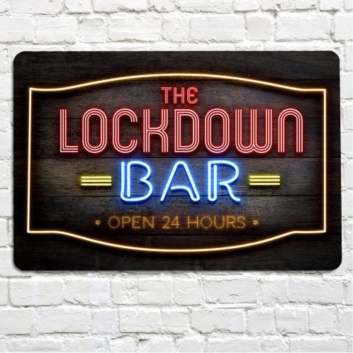 The Lockdown bar red neon bar sign