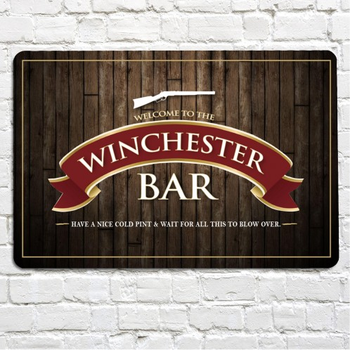 THe winchester pub metal sign, red ribbon
