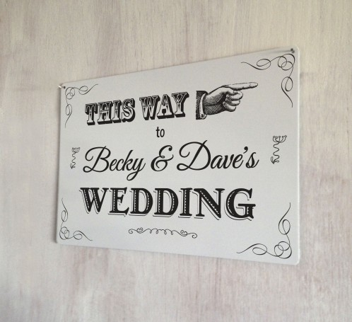 Personalised Wedding this way sign