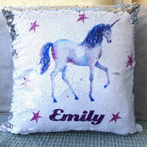 Personalised Unicorn Sequin magic reveal mermaid childrens cushion