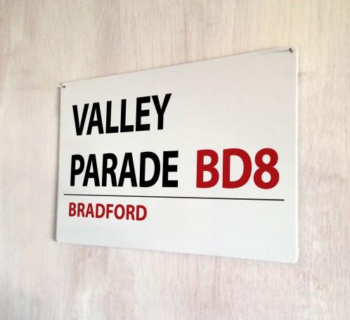 Valley Parade Bradford Street Sign