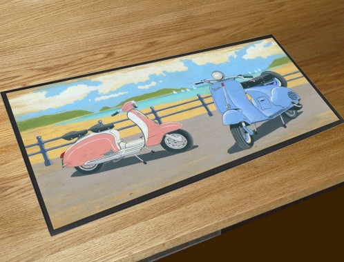 Vespa Scooters bar runner counter mat