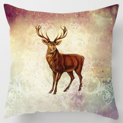 Vintage painted stag cushion