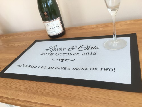 Personalised Wedding drink reception bar runner