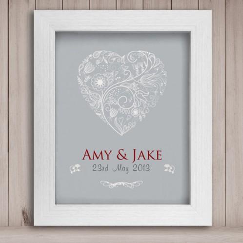 Personalised wedding heart print