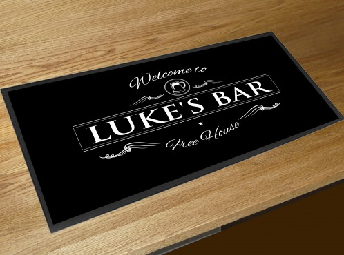 Personalised Welcome pint black bar runner mat
