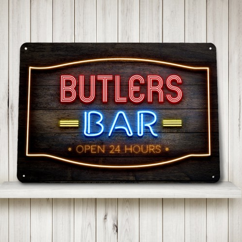 Personalised Bar Sign wood effect neon